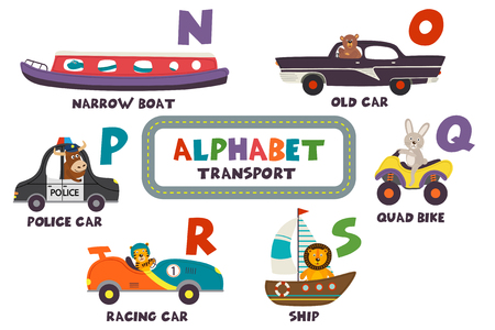 alphabet with transport and animals H to M - vector illustration, eps