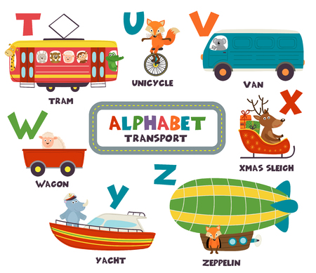 alphabet with transport and animals T to Z - vector illustration, eps Stock Illustratie