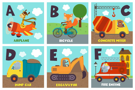 alphabet card with transport and animals A to F - vector illustration, eps