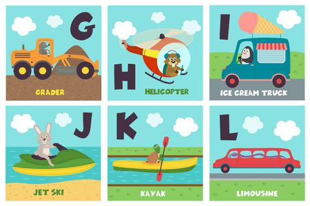 alphabet card with transport and animals G to L - vector illustration, eps