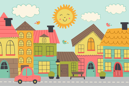 street of a small town - vector illustration, eps Stock Illustratie