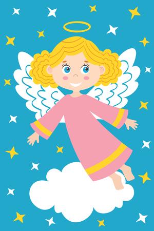 girl angel on the cloud - vector illustration, eps