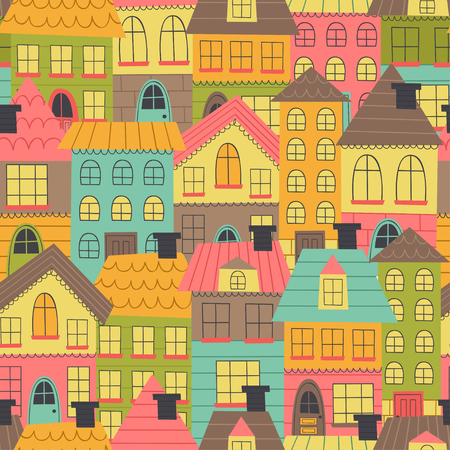 seamless pattern with many houses vector illustration