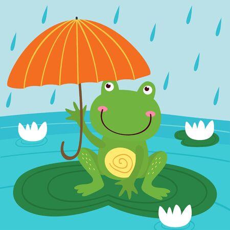 Frog hide from rain under umbrella vector illustration. Çizim