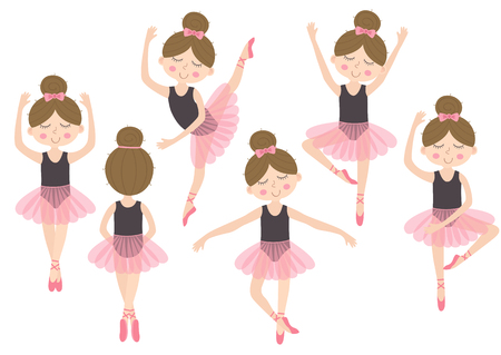 set of isolated cute ballerina girl - vector illustration.