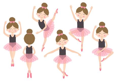 set of isolated cute ballerina girl - vector illustration.