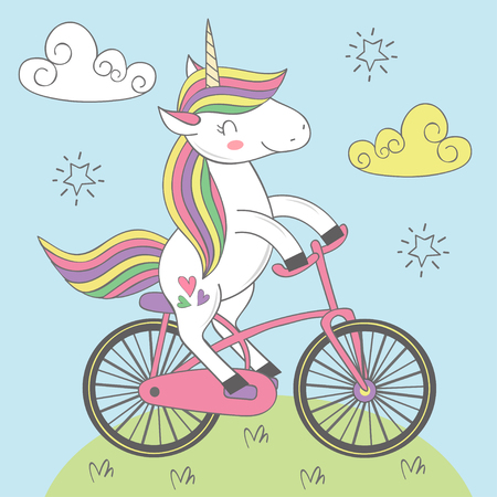 magic unicorn rides bicycle - vector illustration
