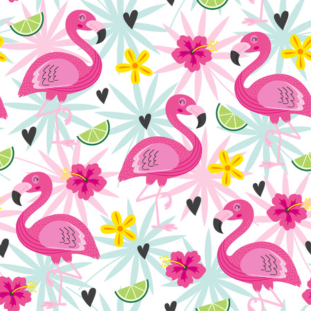 seamless pattern with pink flamingo and tropical flowers - vector illustration