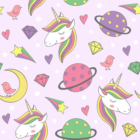 magic seamless pattern with unicorn and planets - vector illustration