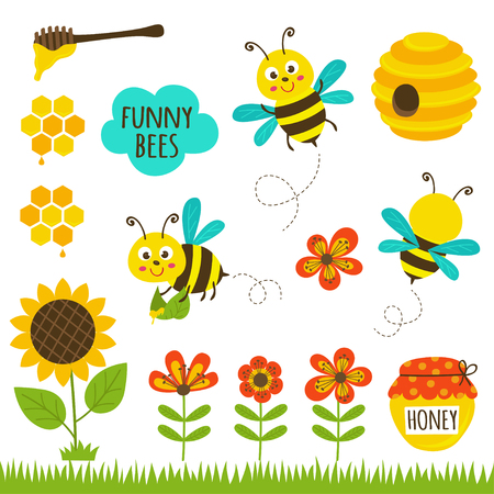 set of isolated funny bees and icons - vector illustration, eps Illustration
