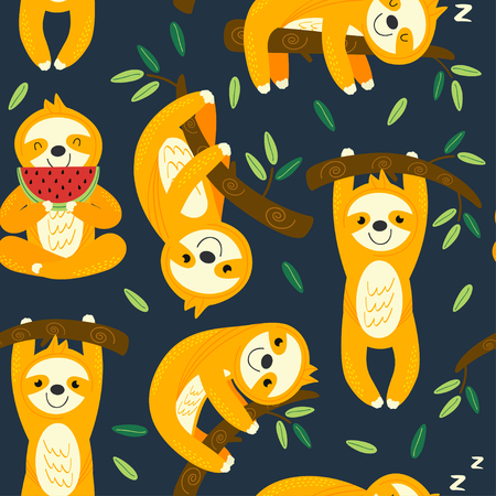 seamless pattern with funny sloths - vector illustration