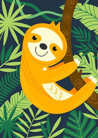sloth on branch among tropical plants - vector illustration, eps