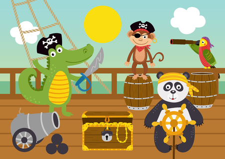 funny animal pirates on deck of ship