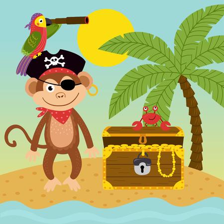 pirate monkey on the island near treasure chest