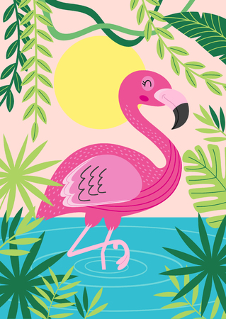 pink flamingo in tropical nature - vector illustration, eps