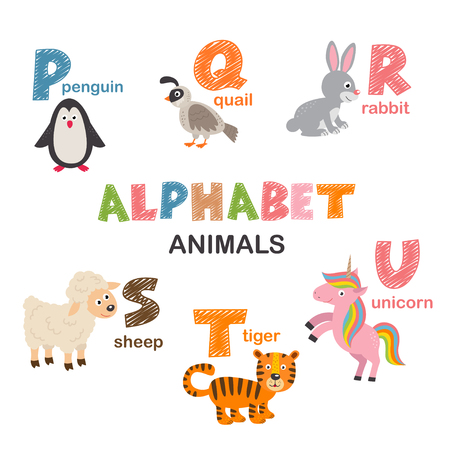 alphabet with animals P to U - vector illustration, eps