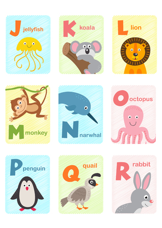 alphabet card with animals J to R - vector illustration, eps Stock fotó - 104459650