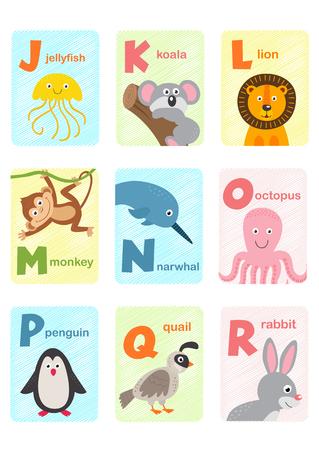 alphabet card with animals J to R - vector illustration, eps Ilustração