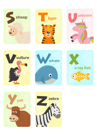 alphabet card with animals S to Z - vector illustration, eps