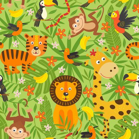seamless con animali della giungla - illustrazione vettoriale, eps Vettoriali
