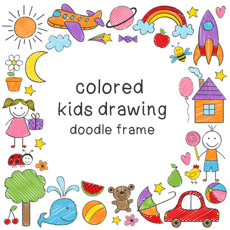 frame with colored kids drawing