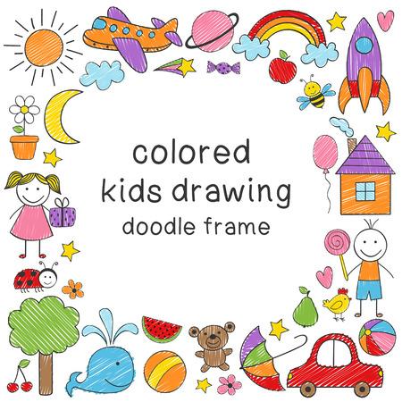 marco con dibujo de niños de colores Ilustración de vector