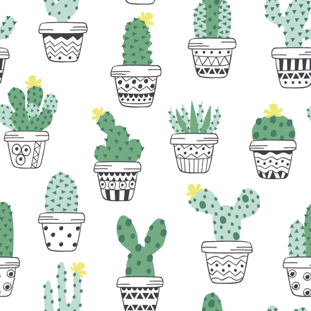 seamless pattern with cactus in pots scandinavian style