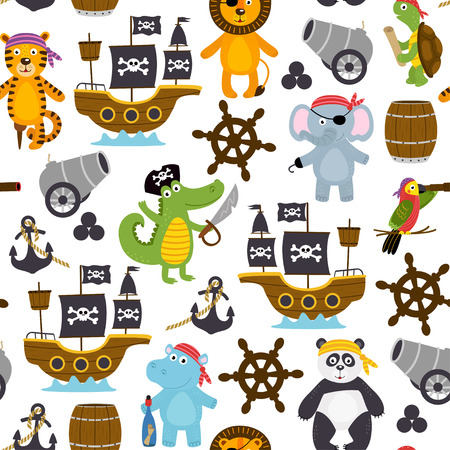 seamless pattern with funny pirates animals