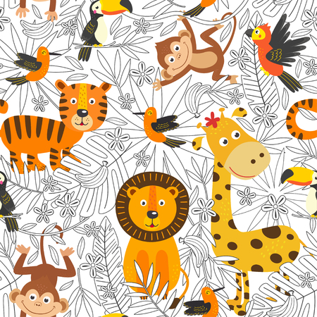 seamless pattern with coloring tropical animals