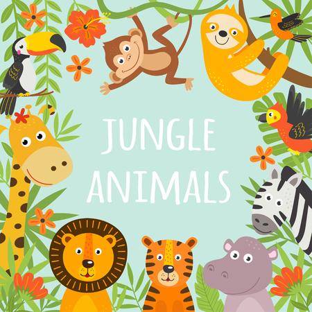 frame with tropical animals and plants Stock Illustratie