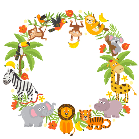 frame with jungle animals 向量圖像