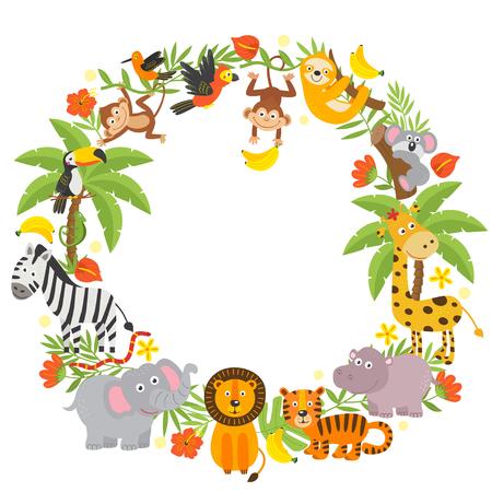 marco con animales de la selva. Ilustración de vector