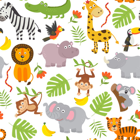 seamless pattern jungle animals on white background