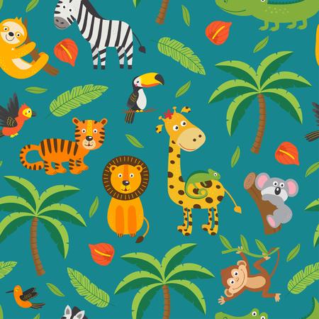 seamless pattern with jungle animals and tropical plants Ilustração