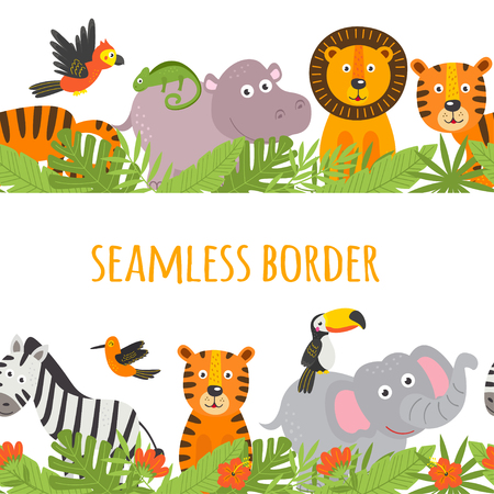 seamless border with jungle animal