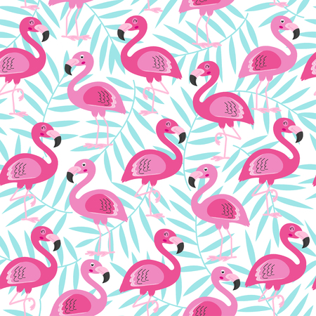 seamless pattern with pink flamingo and blue tropical leaf