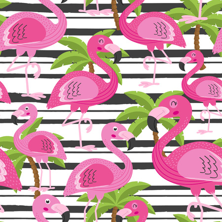 seamless pattern with flamingo and tree palm