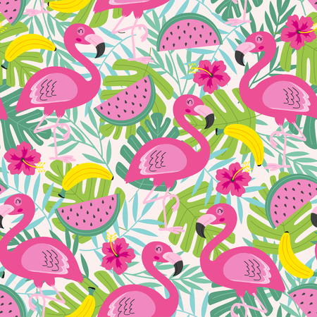 seamless pattern with flamingo and fruits