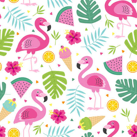 cheerful tropical seamless pattern with pink flamingo