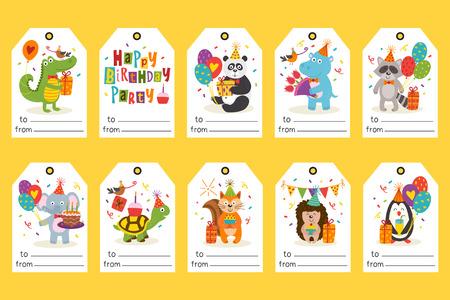 set di tag con animali divertenti Buon compleanno - illustrazione vettoriale Vettoriali