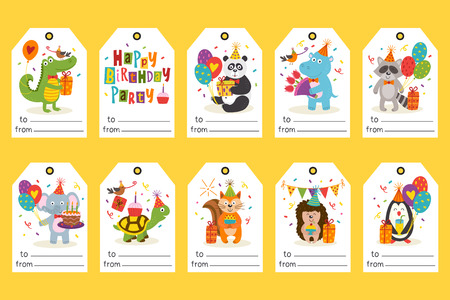 set of tags with funny animals Happy Birthday - vector illustration