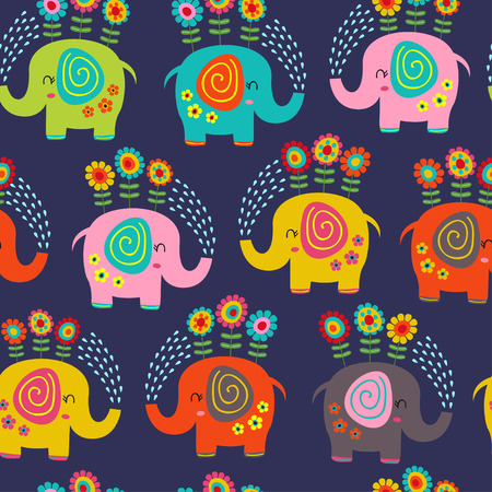 seamless pattern with floral elephants - vector illustration Vetores