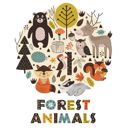 forest animals in circle Scandinavian style - vector illustration