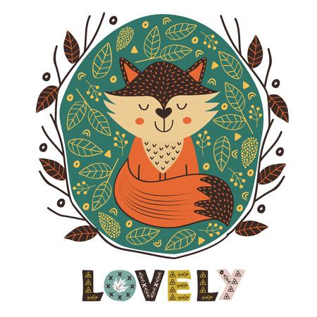 poster of cute fox in Scandinavian style - vector illustration Vektoros illusztráció