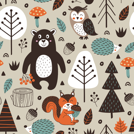 Seamless pattern with forest animals on beige background Scandinavian style - vector illustration