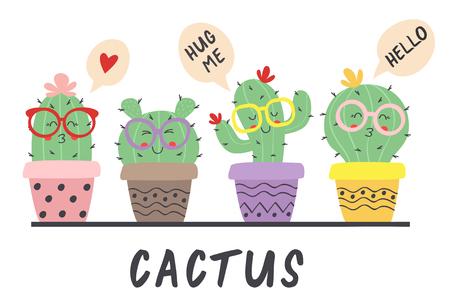 cartoon funny cactus in glasses - vector illustration