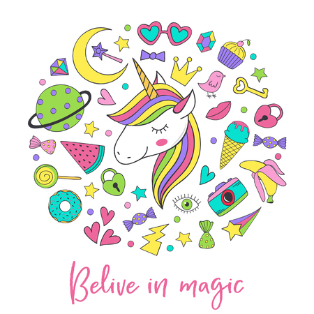 magic unicorn and collection cute stickers - vector illustration Illustration