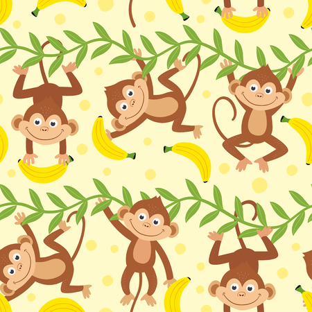 seamless pattern with funny monkey hanging from liana - vector illustration