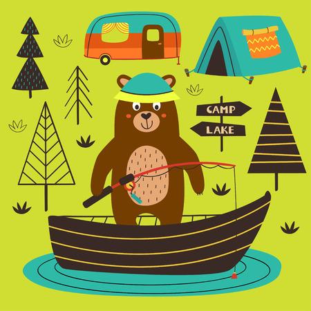 affiche ours pêche sur le lac - illustration vectorielle
