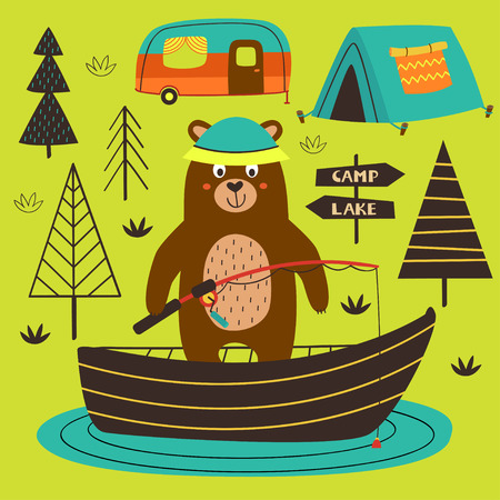 poster bear is fishing on the lake - vector illustration